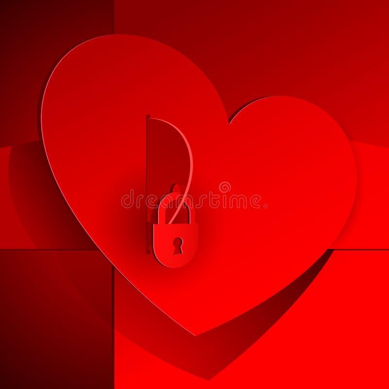 Corazón rojo cerrado en el bloqueo. ilustración del vector