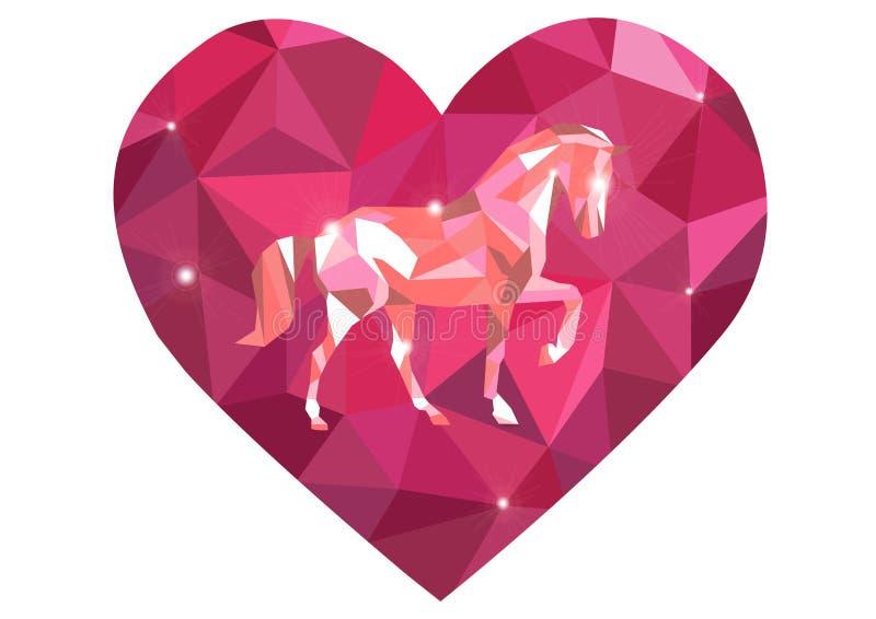 Corazón rojo claro del vector aislado en el fondo blanco Pendiente polivinílica desgreñada geométrica del estilo de la papiroflex stock de ilustración