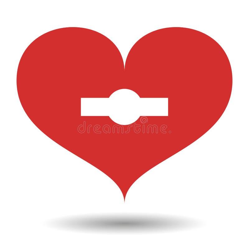 Corazón rojo con blanco con el ojo de la cerradura y la sombra, en fondo aislado Elemento para el día de tarjeta del día de San V stock de ilustración