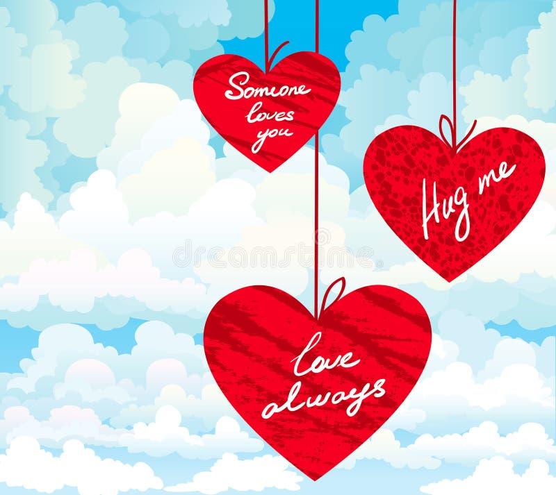 Corazón rojo con deseos stock de ilustración