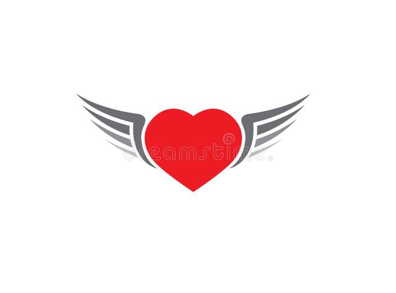 Corazón rojo con el icono abierto de las alas en el fondo blanco para el diseño del logotipo ilustración del vector