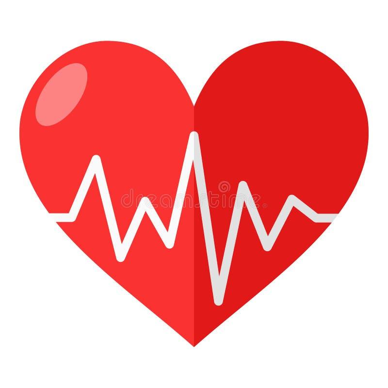 Corazón rojo con el icono plano del electrocardiograma ilustración del vector