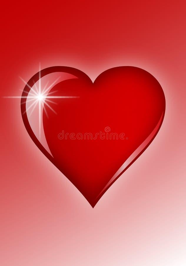 Corazón rojo con fulgor ligero ilustración del vector