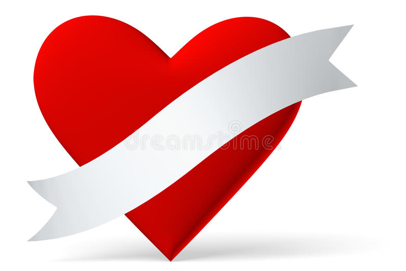 Corazón rojo con la cinta blanca stock de ilustración