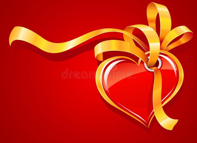 Corazón rojo con la tarjeta de felicitación de la cinta del oro stock de ilustración