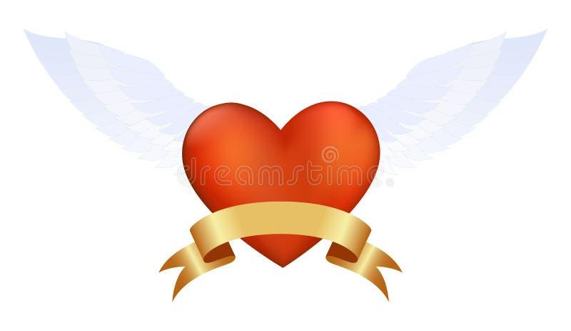 Corazón rojo con las alas libre illustration