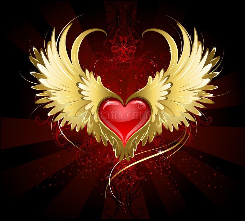 Corazón rojo con las alas de oro stock de ilustración