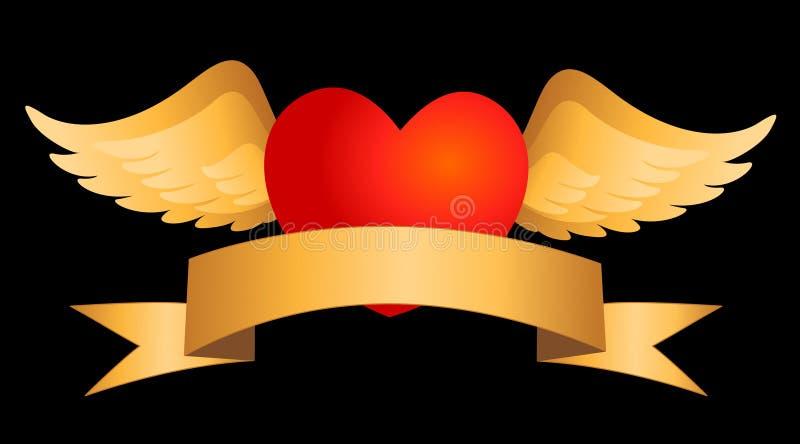 Corazón rojo con las alas del oro libre illustration