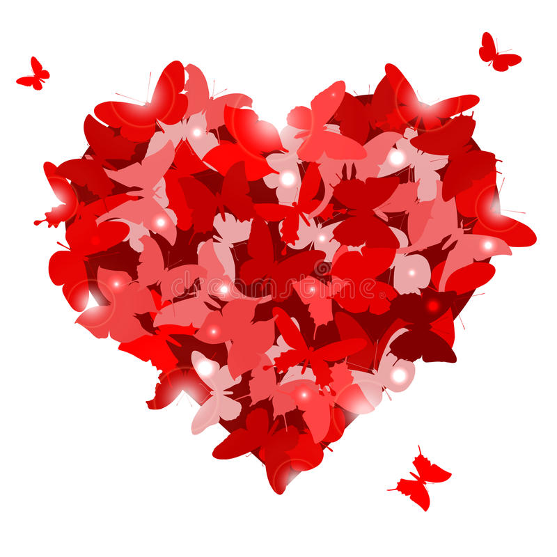 Corazón rojo con las mariposas para el día de tarjeta del día de San Valentín. Concepto del amor. libre illustration