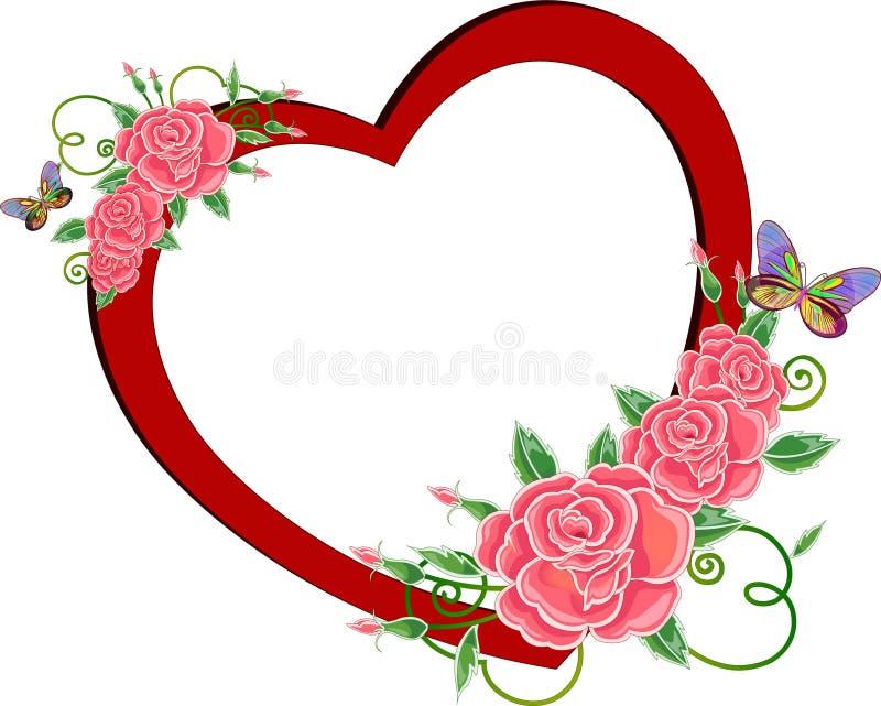 Corazón rojo con las rosas stock de ilustración
