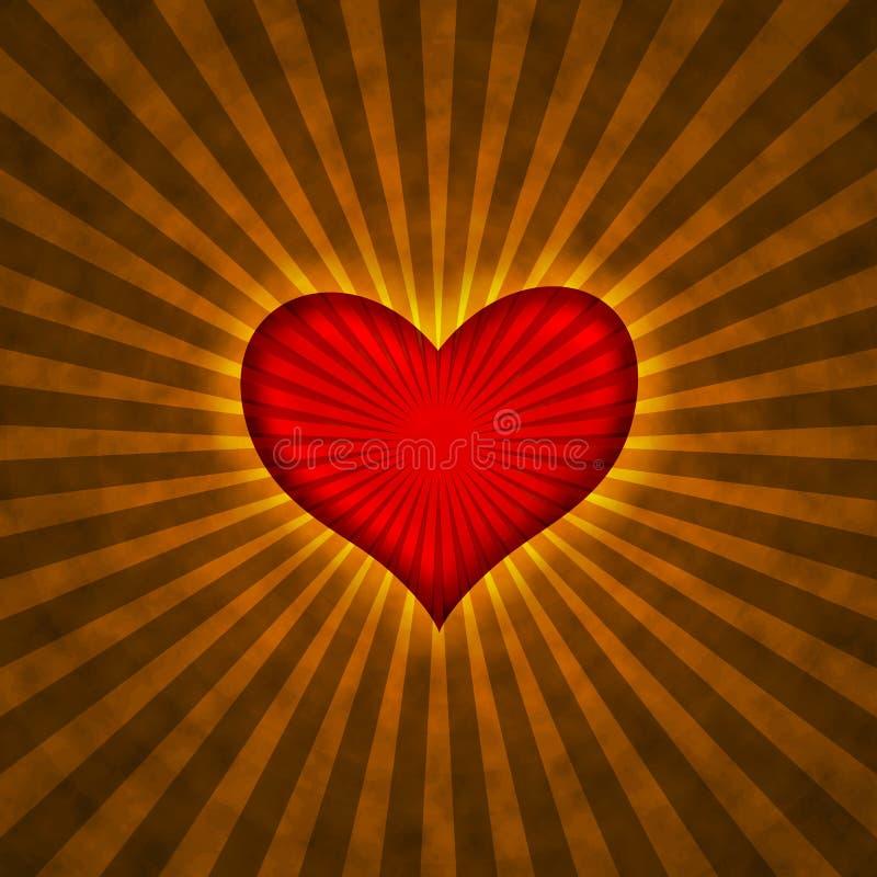 Corazón rojo con los rayos en un fondo del grunge stock de ilustración