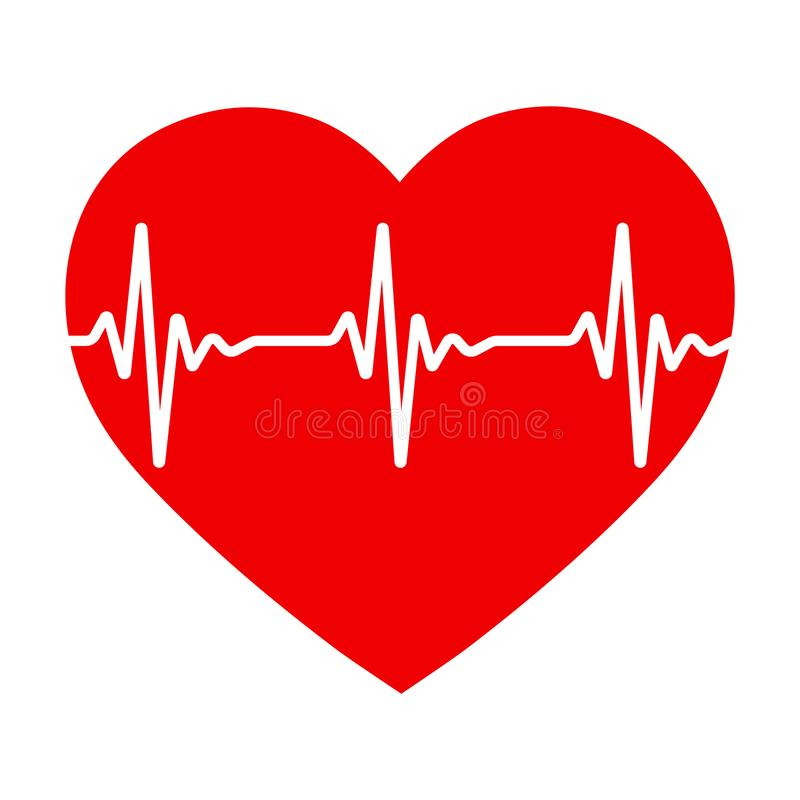 Corazón rojo con pulso El ritmo cardíaco libre illustration