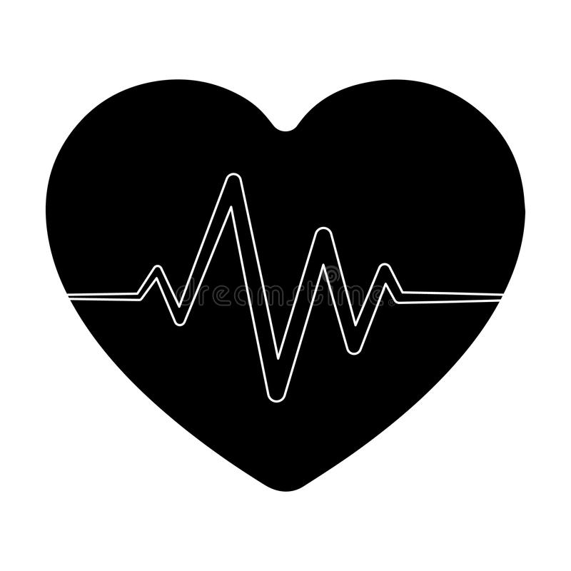 Corazón rojo con pulso El ritmo cardíaco del atleta El solo icono del gimnasio y del entrenamiento en estilo negro vector la acci ilustración del vector