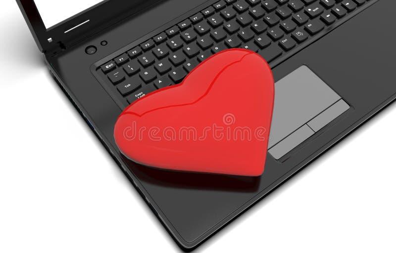 Corazón rojo con un ordenador portátil stock de ilustración