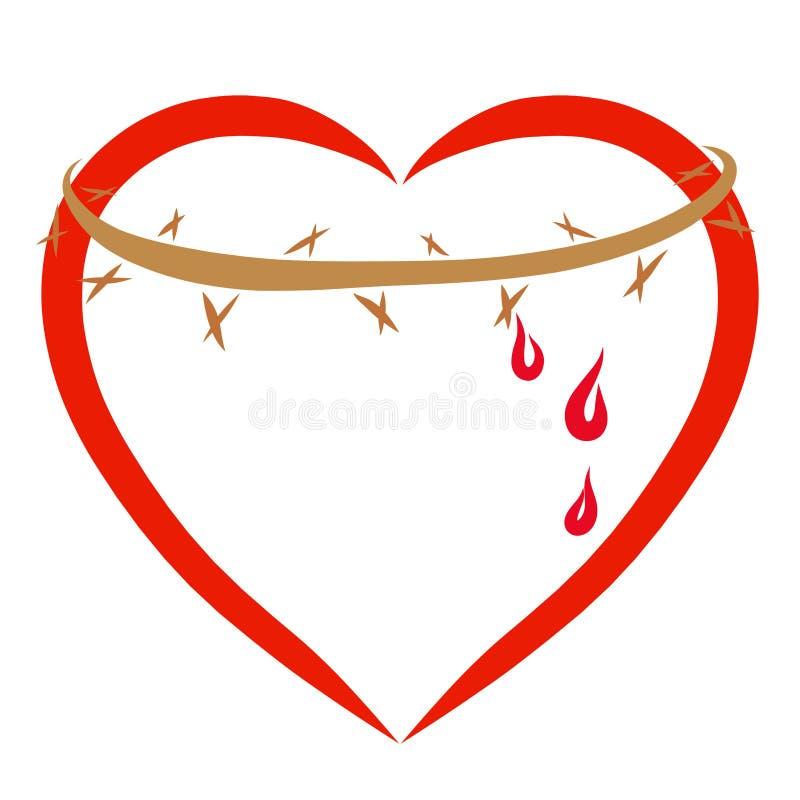 Corazón rojo con una corona de espinas y gotas de la sangre, Christianit stock de ilustración