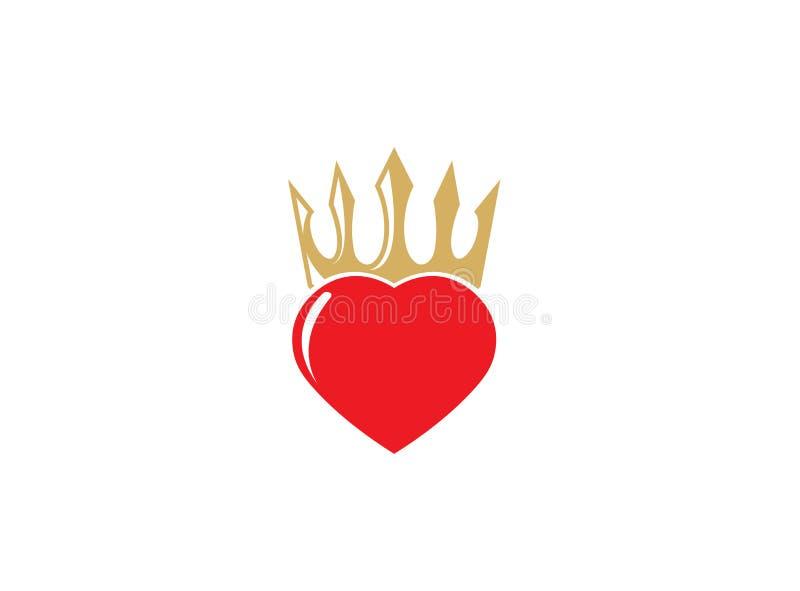 Corazón rojo con una corona en ella para el diseño del logotipo ilustración del vector