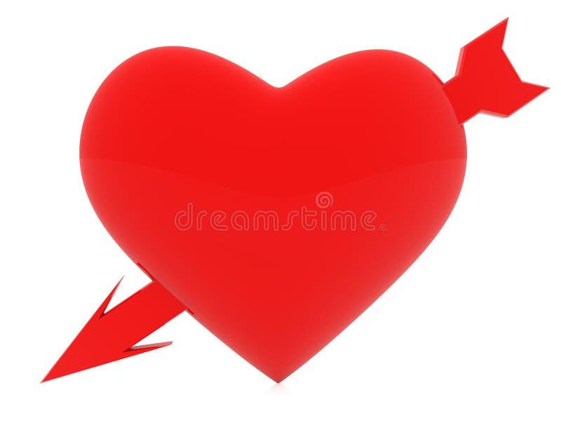 Corazón rojo con una flecha stock de ilustración