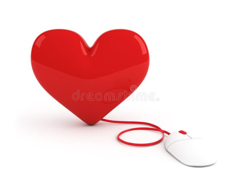 Corazón rojo controlado por el ratón del ordenador libre illustration