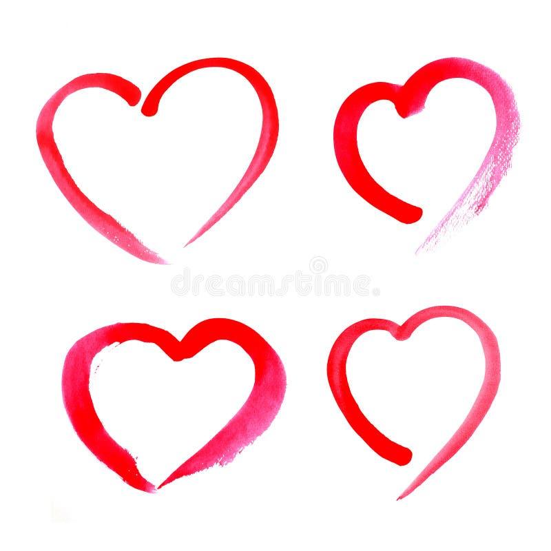 Corazón rojo de la acuarela ilustración del vector