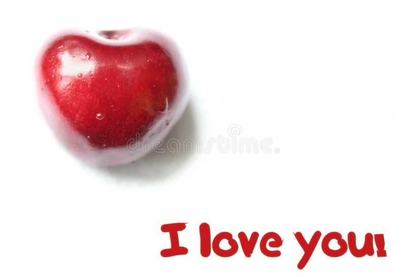 Corazón rojo de la cereza fotos de archivo libres de regalías