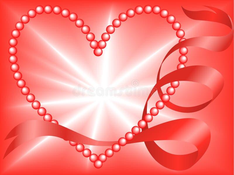 Corazón rojo de la perla stock de ilustración