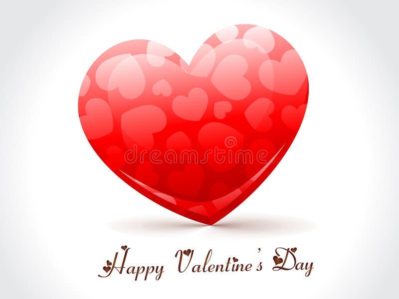 Corazón rojo de la tarjeta del día de San Valentín ilustración del vector