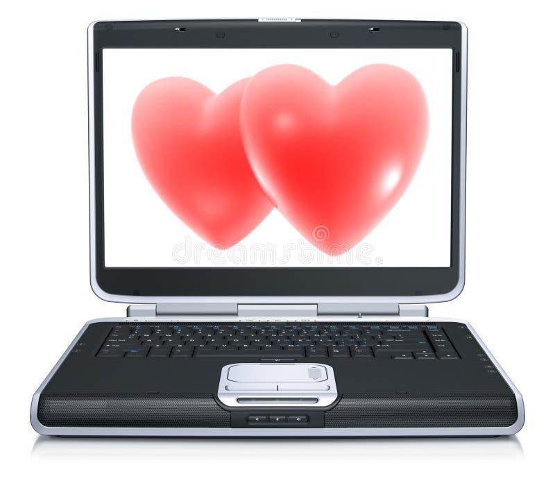 Corazón rojo de la tarjeta del día de San Valentín en la pantalla de la computadora portátil libre illustration