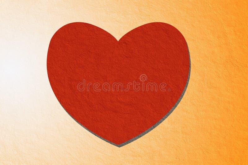 Corazón rojo del arte en fondo anaranjado del color ilustración del vector