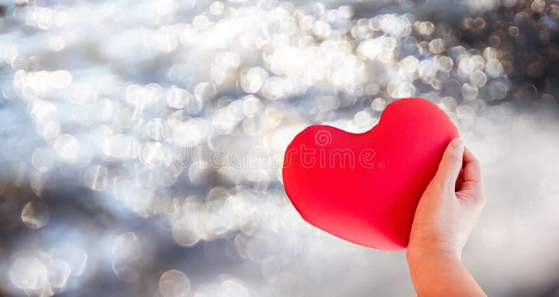Corazón rojo del control de la mano del aislante para el concep precioso romántico de la tarjeta del día de San Valentín fotografía de archivo libre de regalías