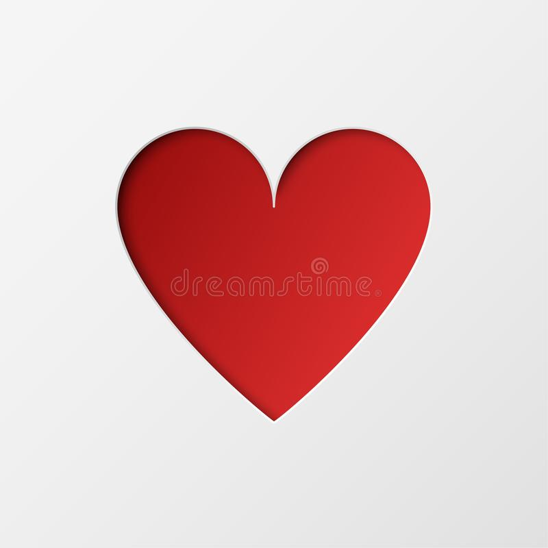 Corazón rojo del corte de papel en el fondo blanco Diseño del día de fiesta para la tarjeta de felicitación de día de San Valentí ilustración del vector