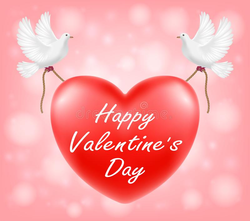 Corazón rojo del día de San Valentín feliz con el ejemplo blanco de la paloma libre illustration