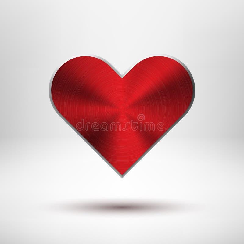 Corazón rojo del día de Valentiness con textura del metal ilustración del vector
