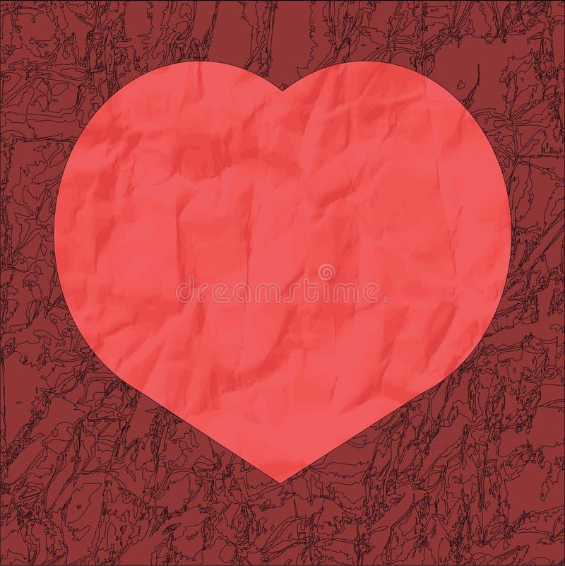 Corazón rojo del documento arrugado sobre un fondo de Borgoña fotos de archivo libres de regalías