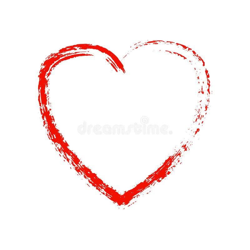 Corazón rojo del Grunge en el fondo blanco Vector el elemento para su diseño e ideas creativas libre illustration