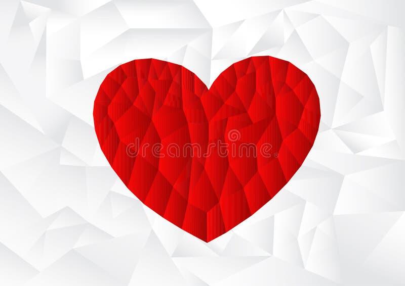 Corazón rojo del polígono con el fondo blanco, vector, ejemplo, espacio de la copia para el texto, día de San Valentín libre illustration