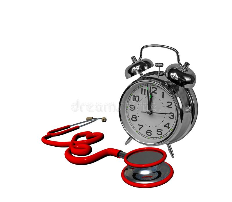Corazón rojo del reloj de tiempo del estetoscopio aislado en la salud blanca - 3d foto de archivo