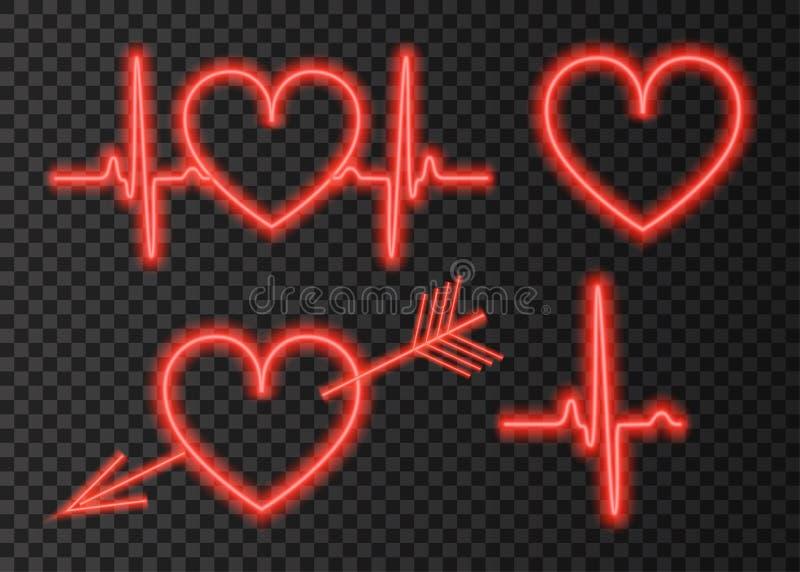 Corazón rojo del resplandor de neón con una flecha stock de ilustración