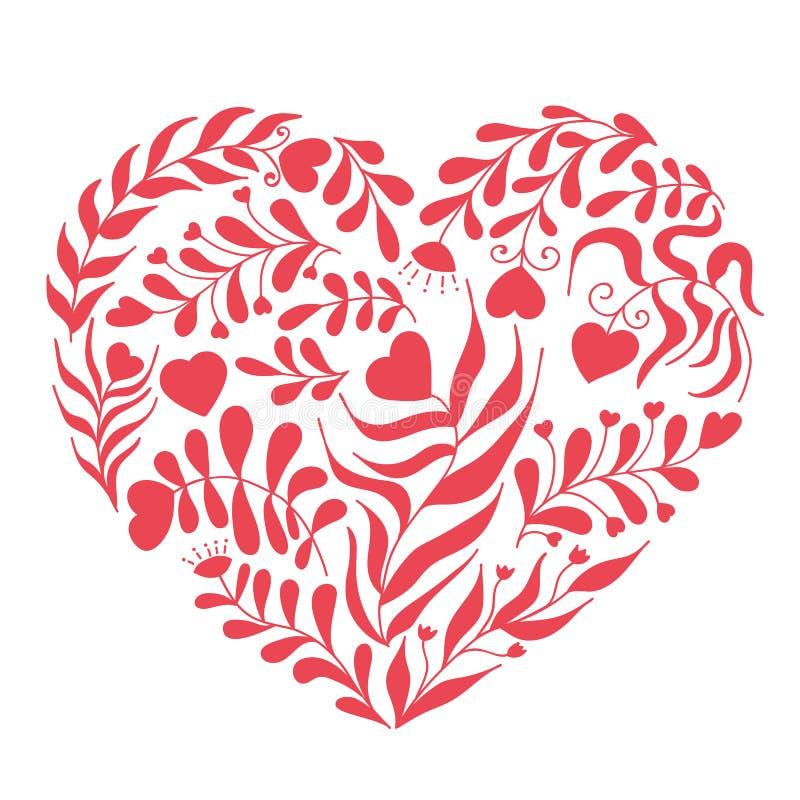 Corazón rojo del vector con la hoja y la flor ilustración del vector