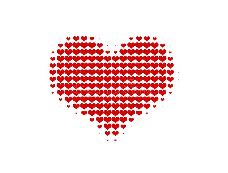 Corazón rojo del vector de semitono stock de ilustración