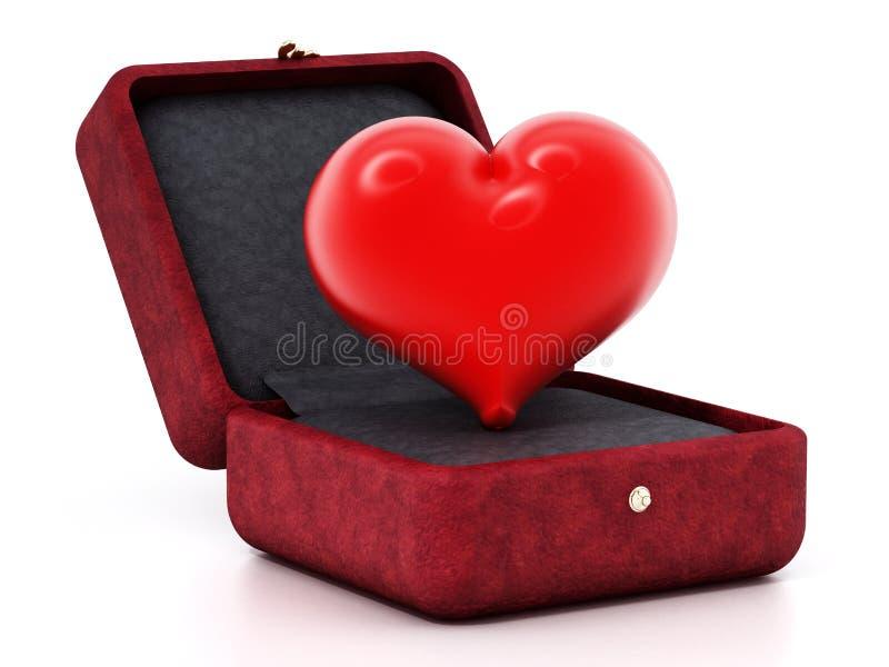 Corazón rojo dentro del ringbox rojo del terciopelo ilustración 3D ilustración del vector