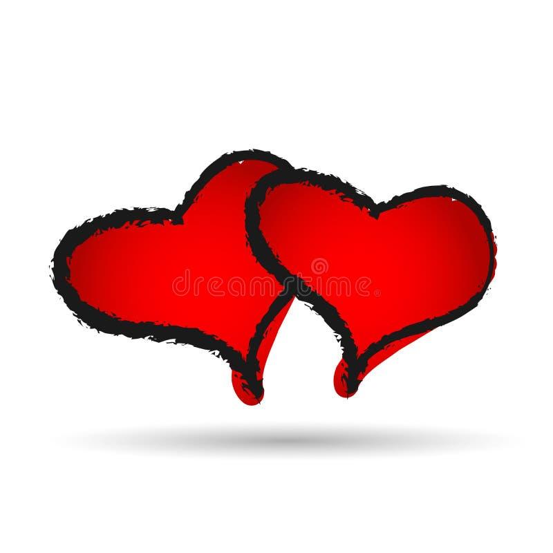 Corazón rojo dibujado mano dos día de San Valentín feliz del amor en el fondo blanco libre illustration