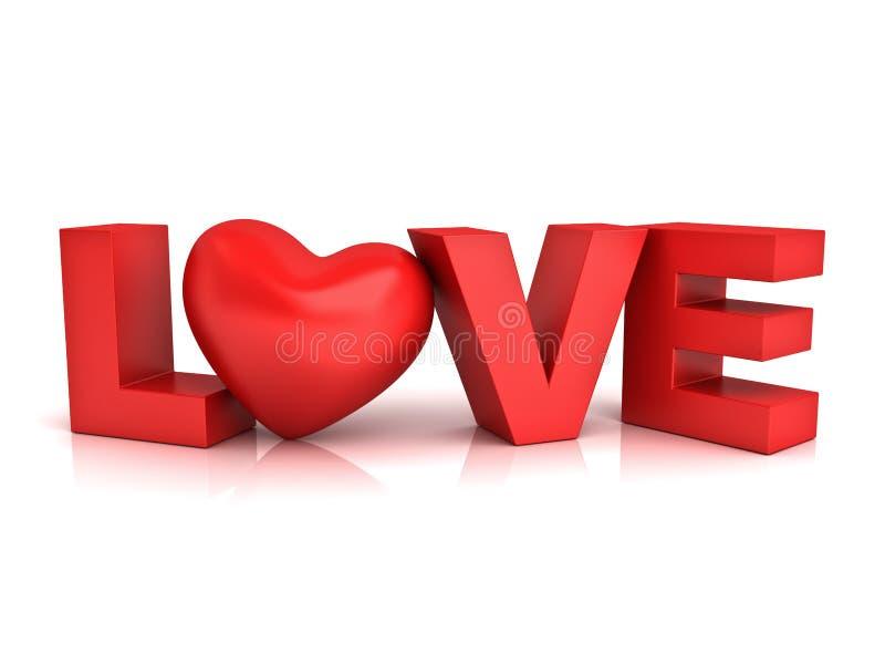 Corazón rojo en amor de la palabra ilustración del vector