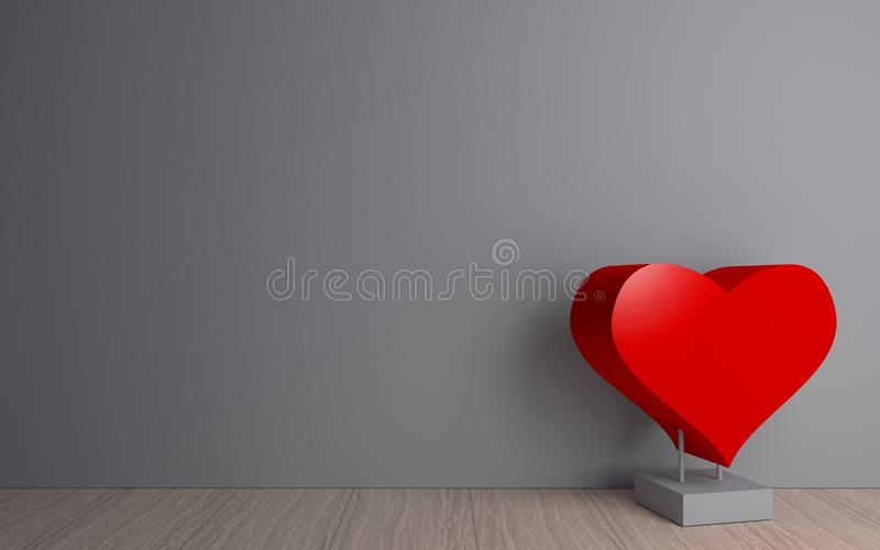 Corazón rojo en el cuarto stock de ilustración