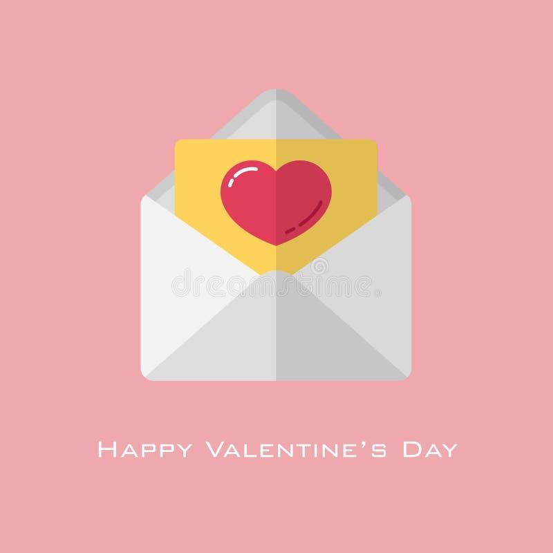 Corazón rojo en el papel amarillo en el sobre blanco en el estilo plano para el día de tarjeta del día de San Valentín ilustración del vector