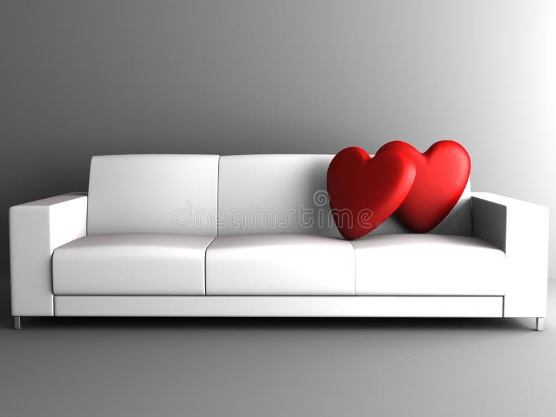 Corazón rojo en el sofá blanco libre illustration