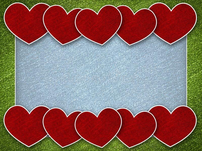 Corazón rojo en fondo de la tarjeta de la tarjeta del día de San Valentín stock de ilustración