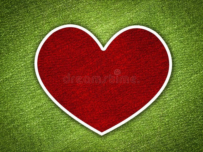 Corazón rojo en fondo del verde del grunge ilustración del vector