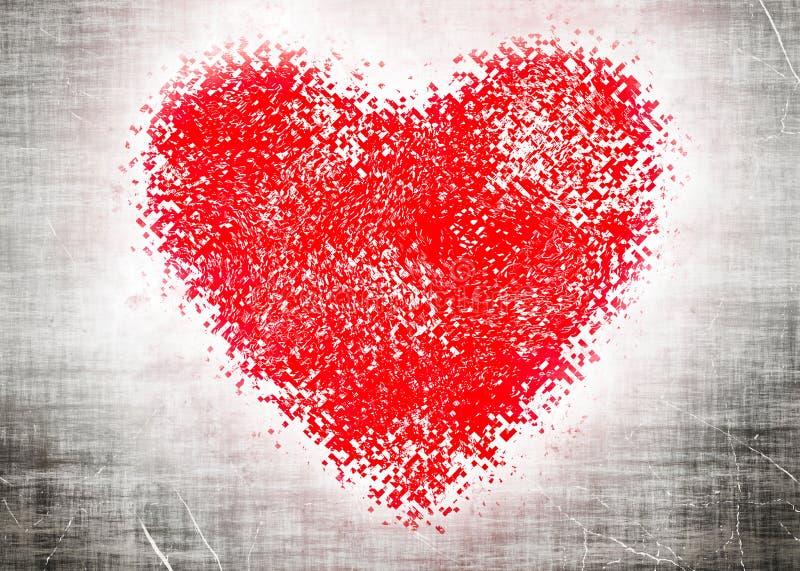 Corazón rojo en fondo grangy gris ilustración del vector