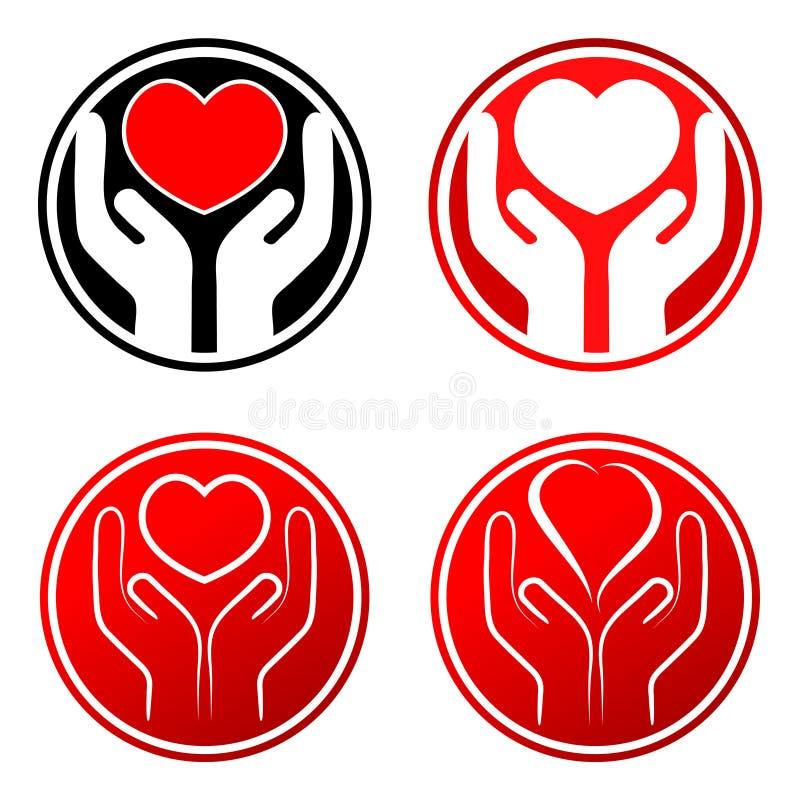 Corazón rojo en manos libre illustration