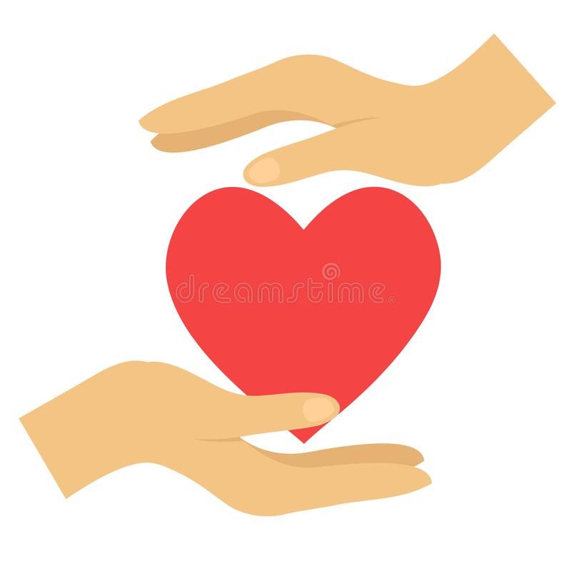 Corazón rojo en manos en el ejemplo blanco, plano del icono del vector stock de ilustración